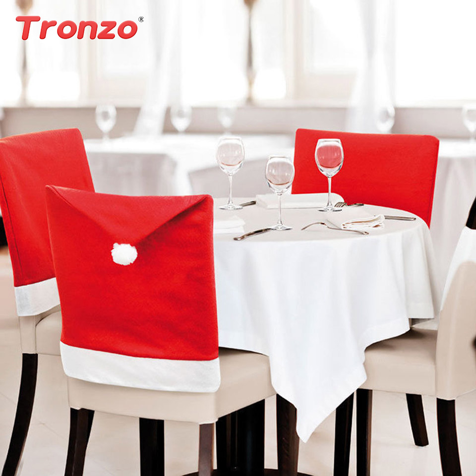 Tronzo 2018 New Christmas Chair Red Hat Cover Christmas Decorations For Home Non-woven Xmas Chair Back Covers Adornos Navidad