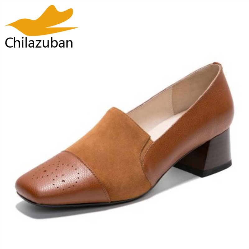 Chilazuban Women Real Leather Square Toe Pumps Thick High Heels Office Lady Shoes Women Basic Concise Daily Footwear Size 34-39 kemekiss size 32 45 women concise pumps square toe high heels shoes solid office lady thick heel pump party wedding footwears