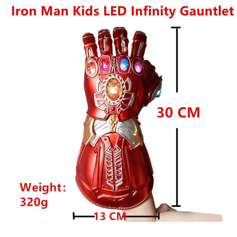 Купить с кэшбэком Iron Man Gauntlet LED Red Gloves LED PVC Action Figure Model Toys Gift Halloween Accessories