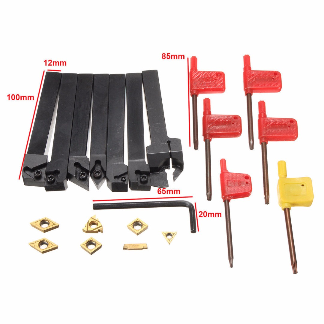 1Sets 12x12mm CNC Lathe Turning Tool Holder + DCMT TCMT CCMT Inserts Blades with Wrenches For Facing Tools hot sale 7pcs set of 12mm cnc lathe turning tool holder boring bar with dcmt tcmt ccmt cutting insert with wrench