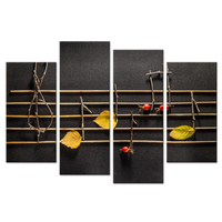 Rustic Music Canvas Prints Home Decor Wooden Musical Notes and Yellow Leaves On Black Background 4 Panel Abstract Poster Print
