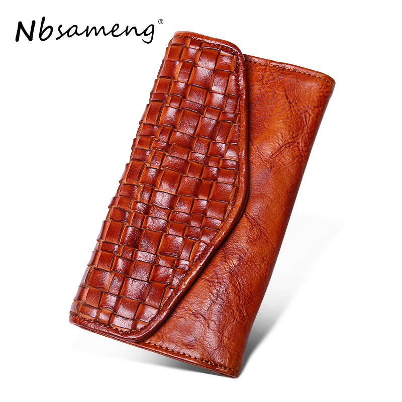 NBSAMENG 2018 Genuine Leather Women Men Long Wallets Purse Fashion Knitting Hasp Clutch Wallet Money Coin Holder Leather Bag