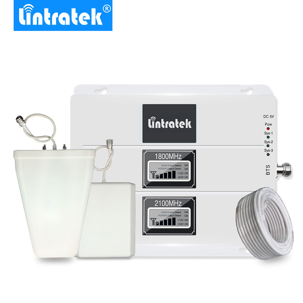 Lintratek Dual Band 3G 4G LTE 1800MHz 2100MHz UMTS Cell Phone Cellular Signal Booster LCD GSM 1800 W-CDMA 2100 Signal Amplifier@