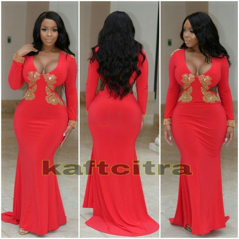 Plus size gold mermaid prom dress - Color dress store