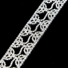 10Yards Bling Crystal Rhinestone Trim Applique Flower Luxury Costume Chain Silver Gold