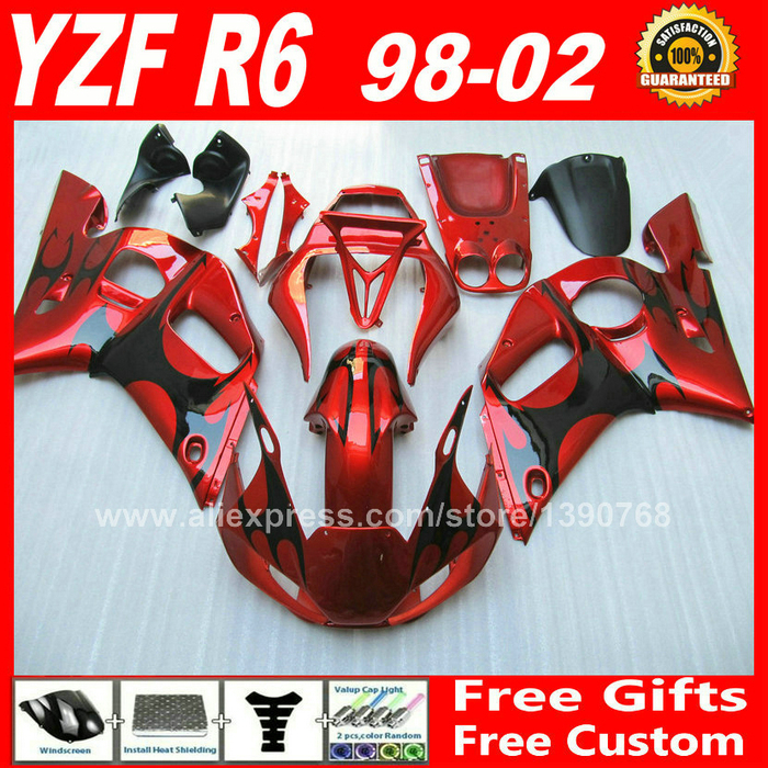 Fairing kit for YAMAHA R6 1998 - 2002  1999 2000 2001 red black bodywork parts  98 99 00 01 02 fairings kits H6S2 1999 2002 land rover discovery ii 2 chrome trim for grill grille 2000 2001 99 00 01 02