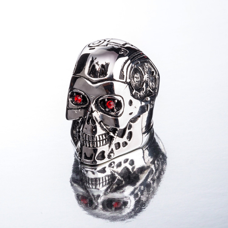 Titanium Steel Ring Terminator Genesis Salvation T800 Skull Ring New Fine Titanium Steel Men's Jewelry gmasking terminator 2 t800 endoskeleton skull head statue scale 1 2 replica