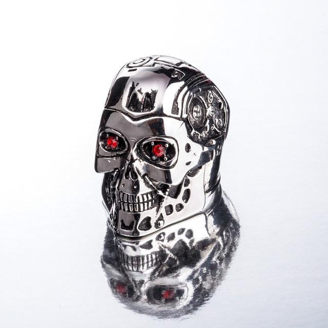 Titanium Steel Ring Terminator Genesis Salvation T800 Skull Ring New Fine Titanium Steel Men's Jewelry