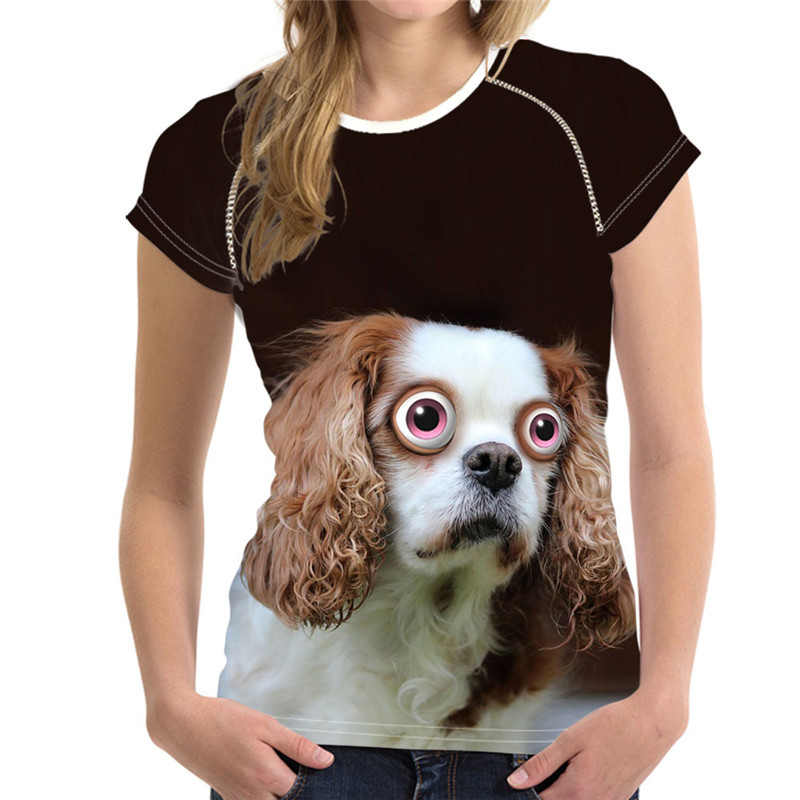 Noisydesigns Stylish Women T Shirt Funny Animal Dog Print Casual Top Tees for Ladies Clothing Short Sleeve Riverdale T Shirts