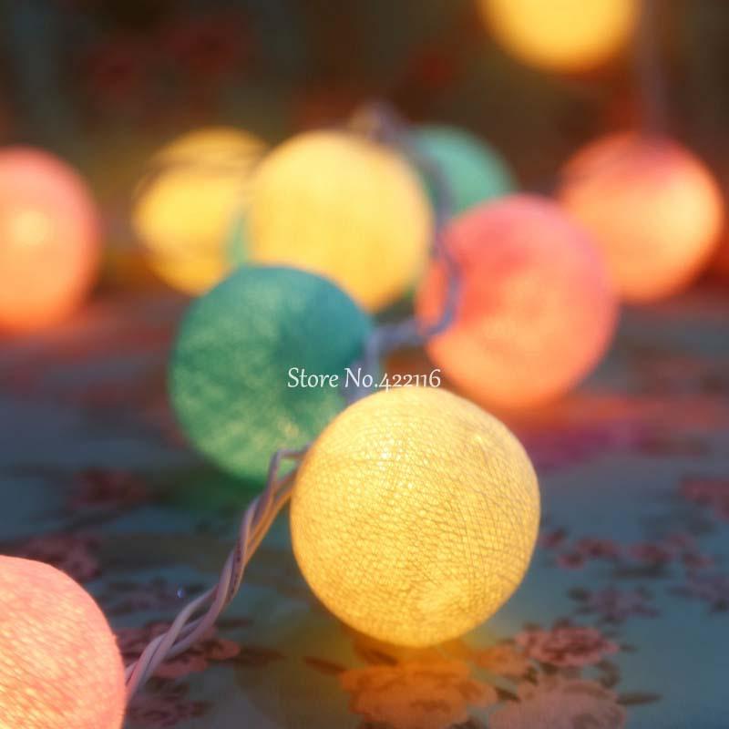 "100/"" 20 Cotton Ball LED String Fairy Night Light Christmas Party Patio Decor"