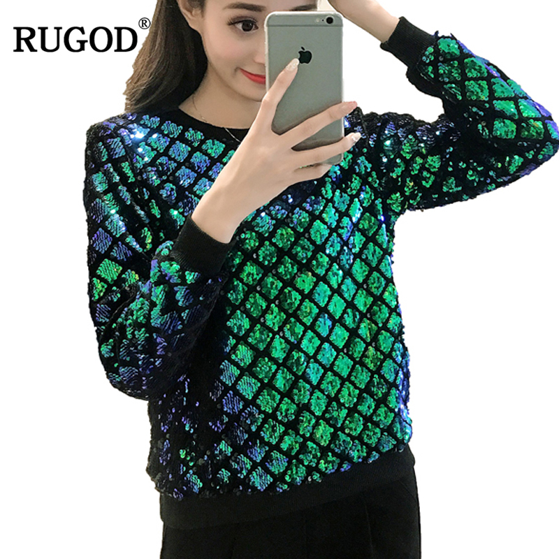 RUGOD 2018 New Fashion Solid Sequined T-Shirt O-neck Long Sleeve Women Tops Casual Spring Loose Camisetas Mujer