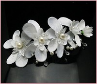 5PX White Orchid Silky Orchids Hair Clip Flower Pearls Crystals Beaded Bridal Wedding Lace Tiara Bridesmaids