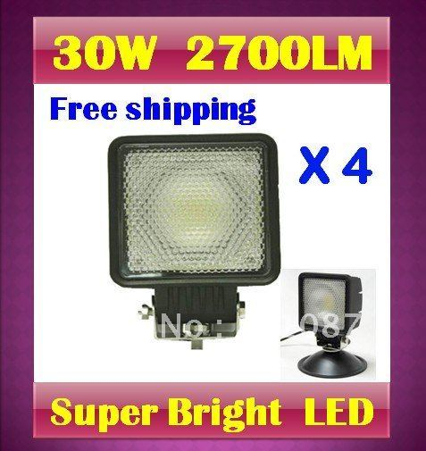 4 X 30W 2700LM 7.5 inches  LED Work Light  Waterproof Aluminum  mining fog lamp truck off road + Top quality by DHL