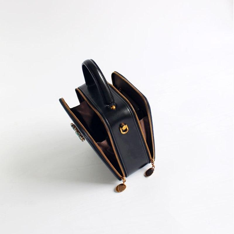 Sac carré en cuir de bovin pour femme 2019 rétro mode femmes diamants noirs sac à main sac à bandoulière unique mini sac c381 - 3