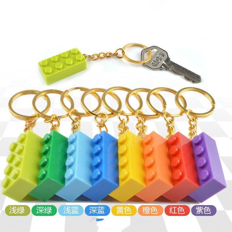 50PCSset Key Chain Blocks Heart Blocks Toy Brick Building Blocks Accessories Keychain Block Model Kits Set DIY Toys for Kids (10)
