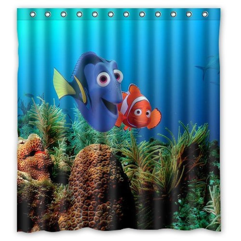 aplysia cool finding nemo waterproof fabric bathroom shower curtains 160x180cm in shower curtains from home garden on aliexpresscom alibaba group - Finding Nemo Christmas Decorations
