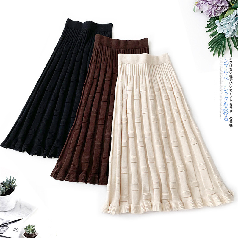 Wasteheart Autumn Winter Coffee Black Women Skirt Casual High Waist A-Line Mid-Calf Long Skirts Clothing Knitting