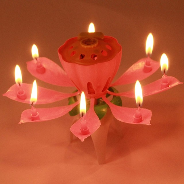 1PC Birthday Candle Romantic Music Musical Lotus Flower Bougie Anniversary Pink Dont Revolving Party DIY Cake Decoration