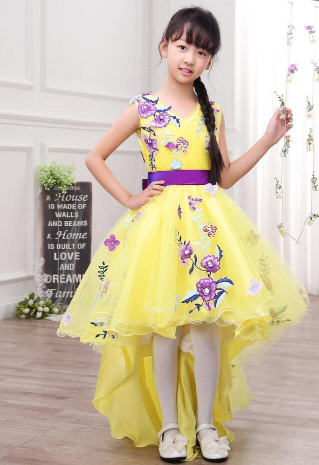 Robe de soiree Yellow Elegant Lace Embroidery Appliques   Flower     Girls     Dress   With Shine Bow   Girls   Evening Party   Dress   Vestido