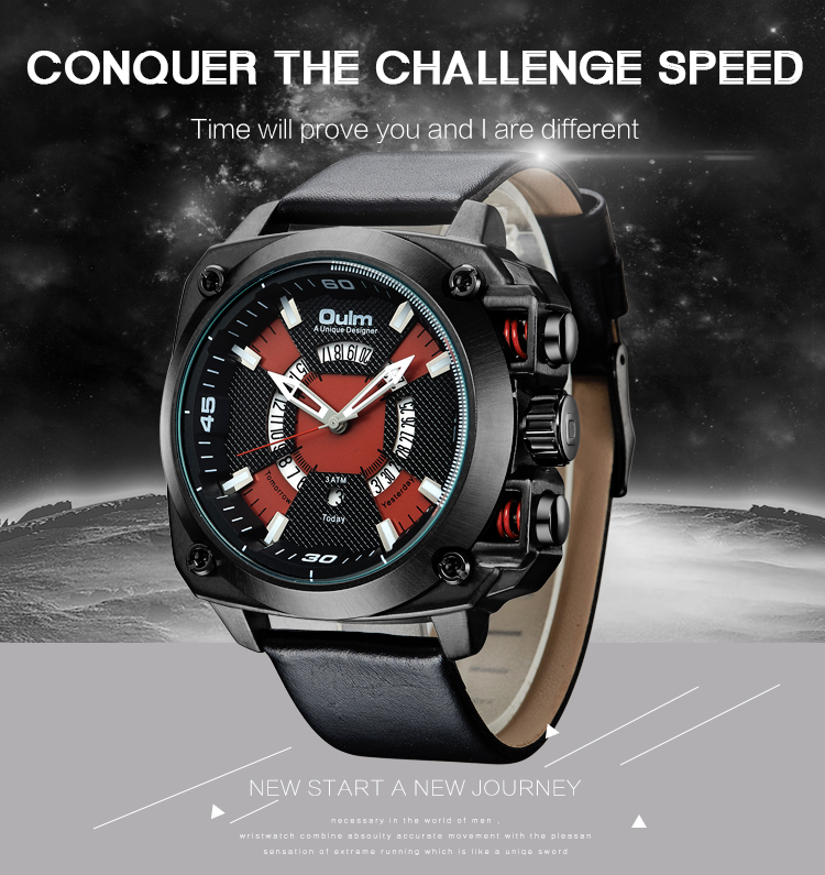 Top Brand Oulm Man Quartz Watches Luxury Leather Strap Military Sport Wristwatch Male Clock relogio masculino drop shipping oulm watch man quartz watches top brand luxury leather strap military sport wristwatch male clock relogio masculino