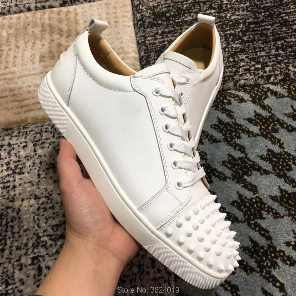 bdfd5187efc4 clandgz White Lace up Men Rivets front Shoes Fashion Party Red bottom  Sneakers leather casual shoes 2018 Male-in Men s Casual Shoes from Shoes on  ...