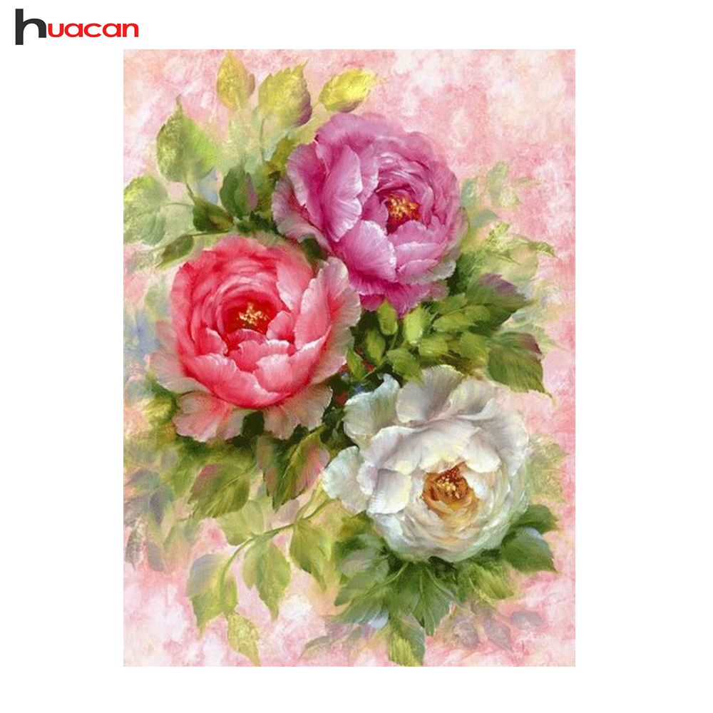 Huacn Diamond Embroidery, Flower, Diamond Painting Kruissteek, Wall Decor, Full Square, strass, DIY, Diamond Mozaïek, Verjaardagscadeau