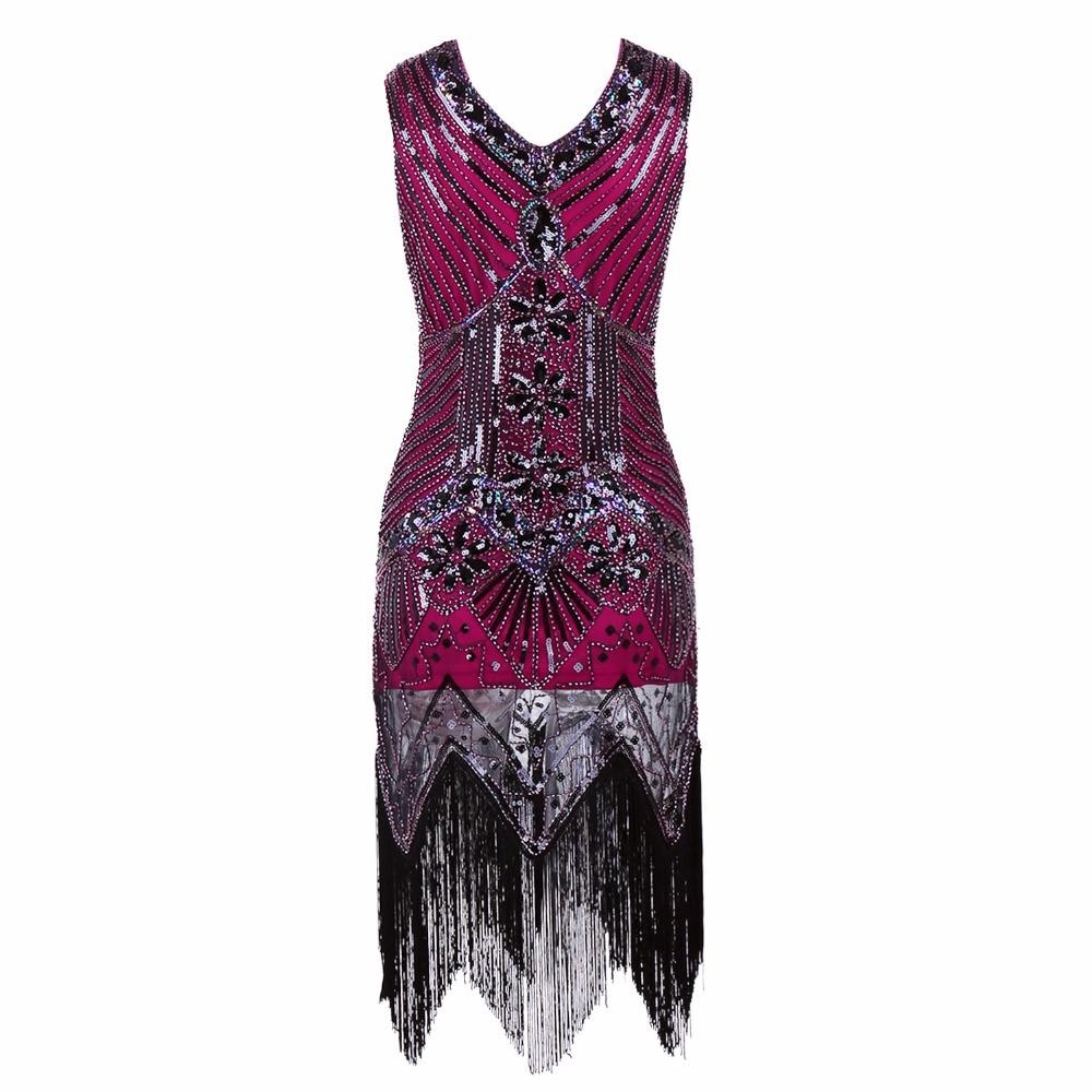 Gatsby Gaun Wanita Berpayet Gaun besar V Leher Manik-manik Berpayet - Pakaian Wanita - Foto 3