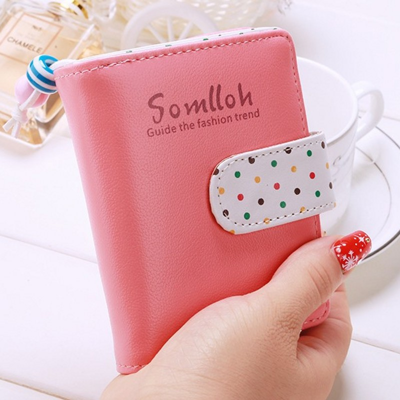 Fashion Girl purse Clutch Wallet Zipper Coin bag Card bit College Style Fresh Cute Dot Female short small wallet wholesale