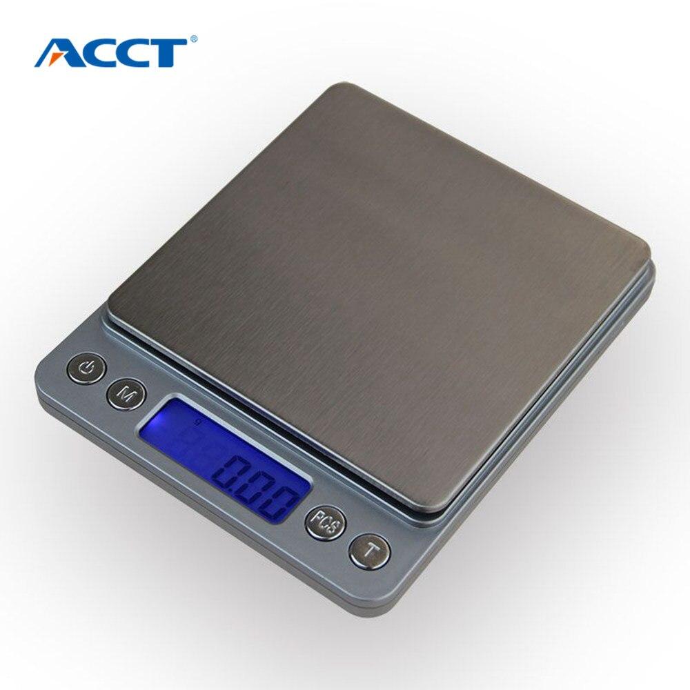 500g x 0,01g portátil Mini electrónica escalas de alimentos bolsillo Postal cocina joyas peso Digital escala con 2 bandeja