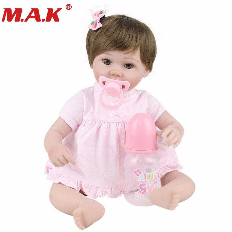 45cm silicone dolls reborn soft body baby girl doll vinyl newborn dolls brinquedos bebe menina de silicone gift for baby цена