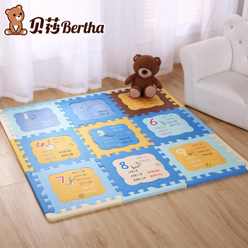 Table de Multiplication EVA mousse bébé jouet Puzzle tapis de jeu jeu de verrouillage exercice Gym Pad enfant enfant 30x30x1.2 cm 9 pièces + 12 bordure