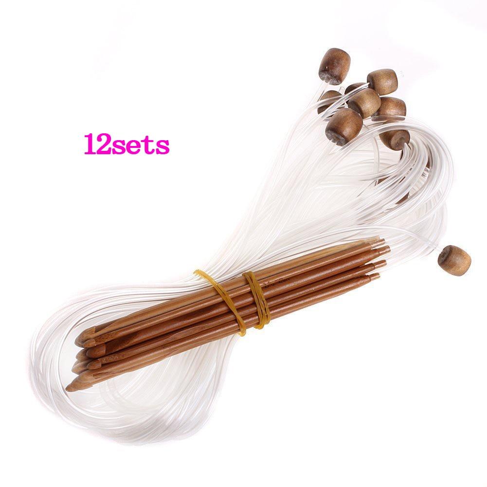 12 ganchos de crochê de bambu carbonizado tunisino afghan dos tamanhos 3.0-10.0mm -- com cabo plástico adjacente para o projeto máximo flexibil