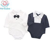 Herbabe Short Sleeve Baby Rompers Summer Cotton Newborn Infant Boy Girl Jumpsuit Toddler Clothing Gentleman Outfits Sunsuit