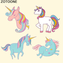 ZOTOONE Colorful Unicorn Rose Pattern Fashion Girl Heat Transfers PVC Patch Stickers on Clothes Washable Custom E