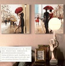 Couples umbrella love street painting home decor wall art canvas art bar cafe Bedroom Living Room