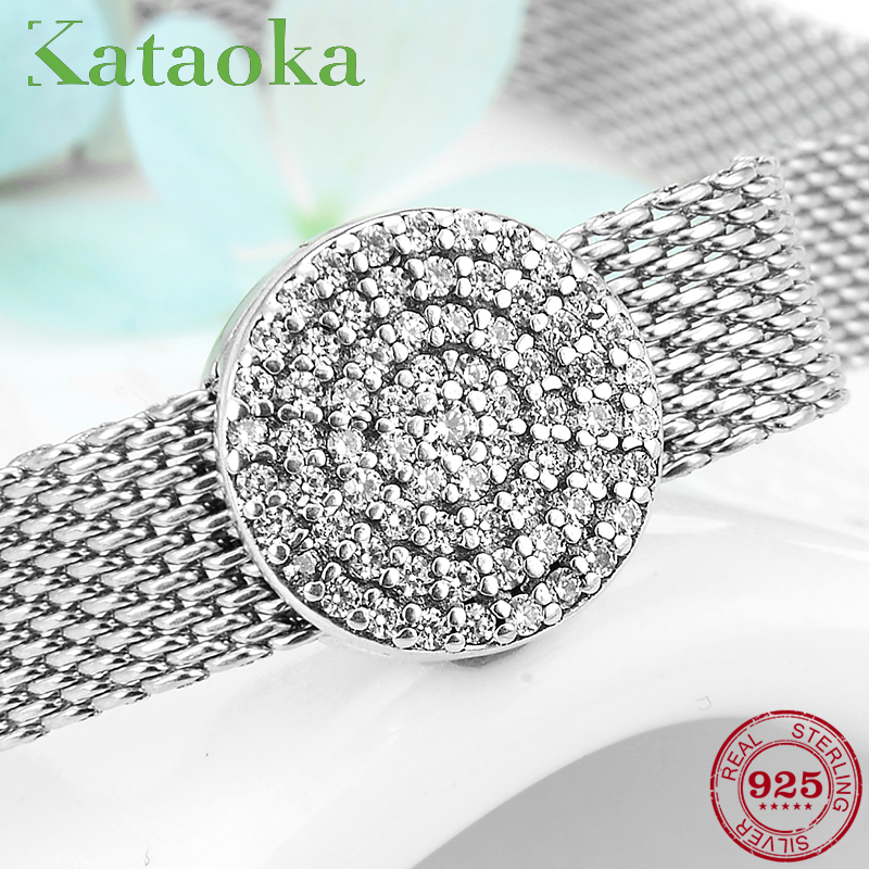 New Arrival Sparkling 925 Sterling Silver Round Clear CZ Clips Beads For Jewelry Making Fit Reflexions Charm Bracelet