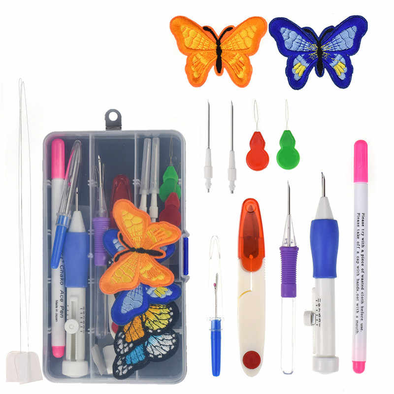 Magic Embroidery Stitching Pen Punch Needle Set 2 Pcs Embroidered Patterns Punch Needle Kit Knitting Sewing Craft Tool With Case