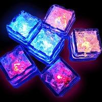 Random Color 12pcs Water Sensor Multi Colors Changing Led Ice Cubes Event Party LED Luminous For