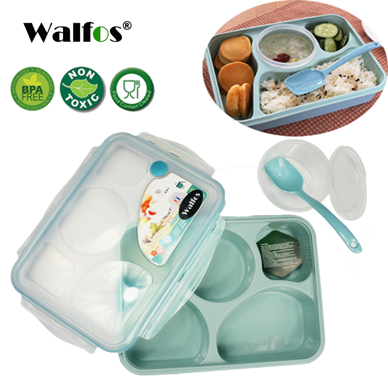 WALFOS marca 5 plus 1 Selado Microondas Lunch box com colher bento box Para O Escritório Da Escola dos miúdos com simplicidade fresco estilo