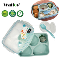 WALFOS thương hiệu 5 cộng với 1 Kín Bằng Lò Vi Ba hộp Ăn Trưa với spoon bento box Cho trẻ em Văn Phòng Trường với sự đơn giản tươi phong cách