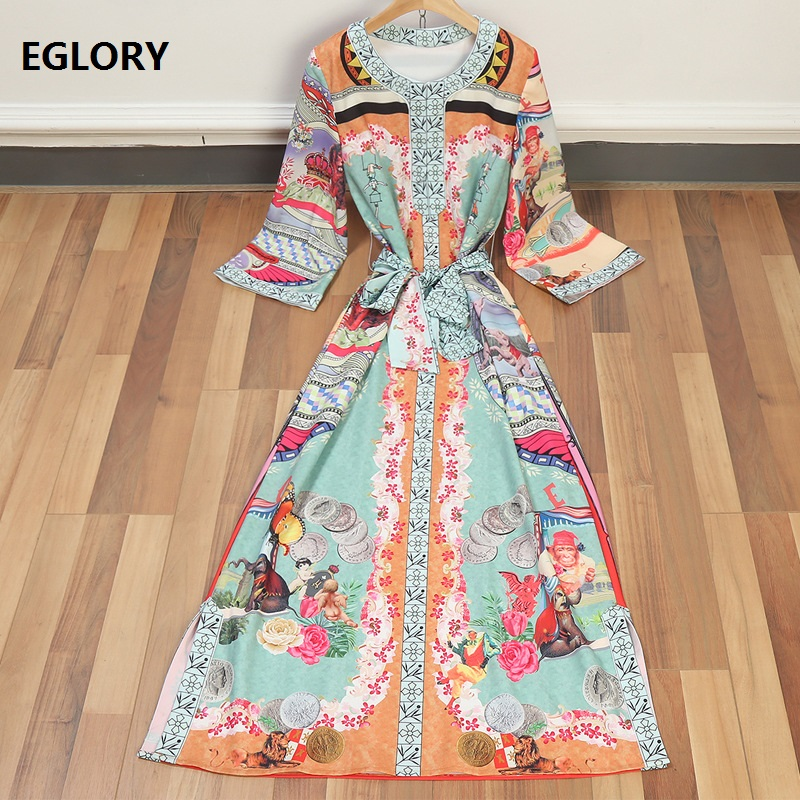 New Plus Size Vintage Long Dress 2018 Spring Summer Casual Beach Women Boho Print Straig ...