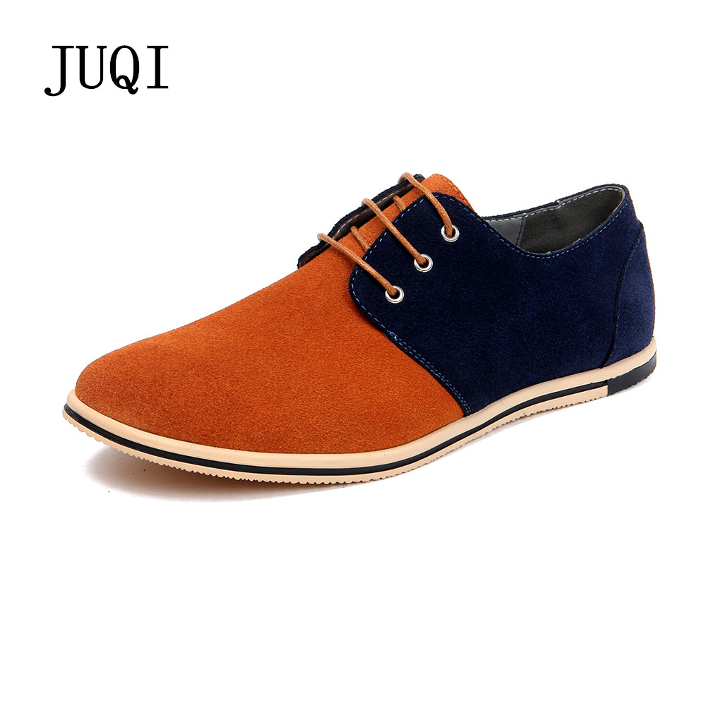 JUQI Men Shoes 2017 New Fashion   Suede     Leather   Shoes Men Casual Shoes Oxfords Breathable Shoes Flats Big Size 38-50 Free Shipping