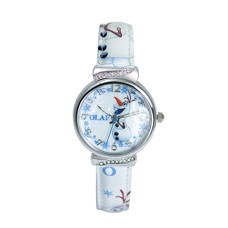 Children watch Disney brand girl Cartoon Frozen student  kids girls wristwatches Leather waterproof watches relogio cartoon children watches fashion girl bear pattern kids waterproof watch cute student leather strap wrist watch relogio