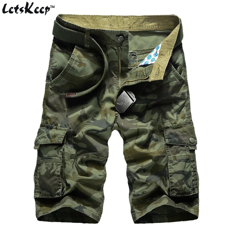 LetsKeep New Summer Camouflage Shorts Men Casual Cotton Cargo Short Pants Baggy Military Camo Shorts No Belt 29-44, MA332