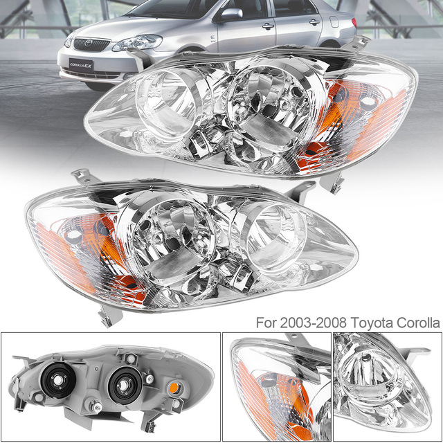 1 Pair Waterproof Durable Black Left Right Headlights Headlamps Replacement For 2003 2008 Toyota