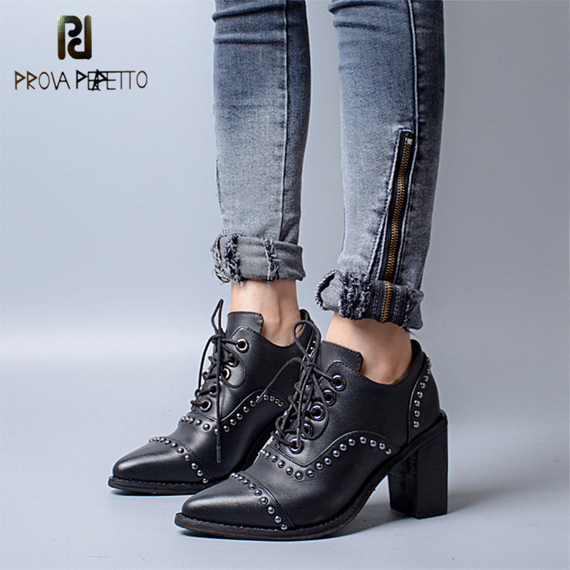 цена на Prova Perfetto Euramercian Design Fashion Pinted Toe Rivets High Heel Boots Genuine Leather Patchwork Lace Up Shallow Boots