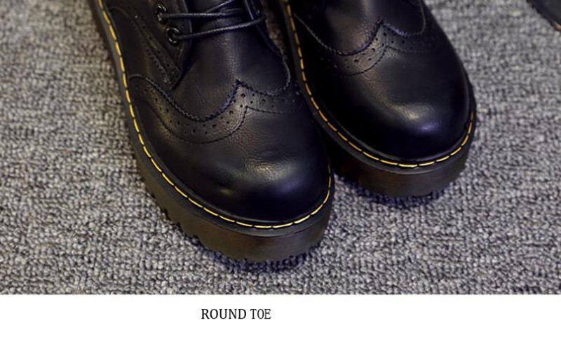 COOTELILI Winter Platform Flat Shoes Women Velvet Fleece Oxford Shoes For Women Korean Footwear Brogue Female Shoes 35-40 (9)