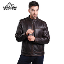 Classic Casual Wear Resistant Chaquetas Cuero Hombre Windbreaker Leather Jacket Men Black Brown Genuine Cowskin Leather Coat
