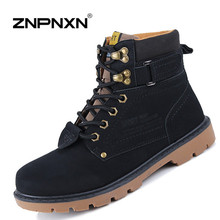 New 2016 Winter Mens Boots Casual Black PU Leather Ankle Boots For Men Shoes Fashion Work