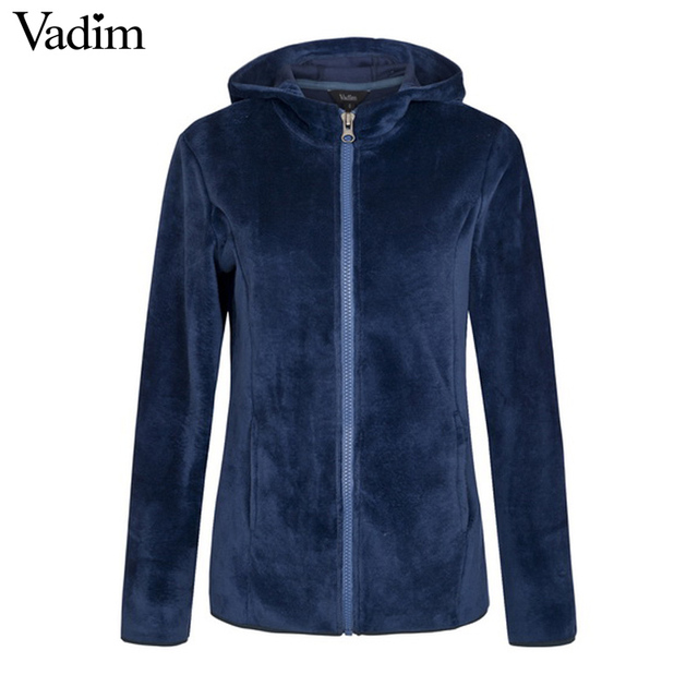 Women basic loose Zip-up Hoodie thick Fluffy Fleece solid casual plussized  long sleeve casual
